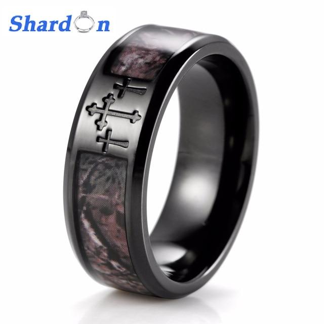 shardon mens black three cross camo ring titanium outdoor camouflage anniversary band wedding ring for men - Black Band Wedding Rings
