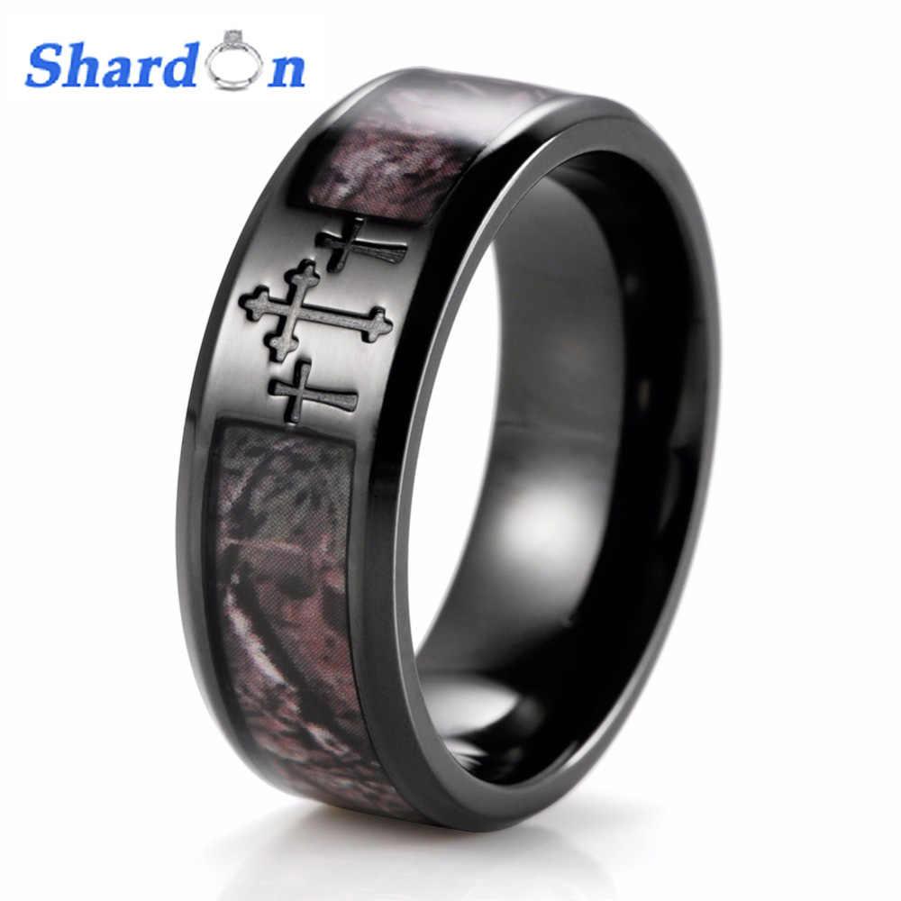 Shardon Men S Black Three Cross Camo Ring Titanium Outdoor