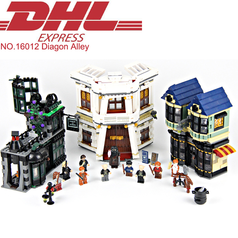 Lepin 16012 2025Pcs Movie Figure The Diagon Alley Model Building Kit Blocks Bricks Educational Toy For Children Compatible 10217 lepin 16012 diagon alley building bricks blocks toys for children boys game model car gift compatible with bela decool 10217