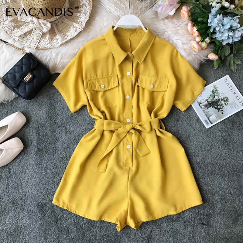 Short Women   Jumpsuits   Korean Turndown Collar Office Yellow Black Pink Elegant Summer Overalls Plus Size Rompers Womens   Jumpsuit