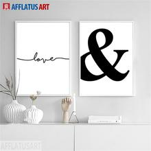 AFFLATUS Love Letter Nordic Poster Wall Art Canvas Painting Posters And Prints Black White Pictures For Living Room Decor