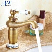 Бесплатная доставка Современные античная латунь Смесители ванная комната раковина смеситель Водопроводной воды обустройство дома 9031AP