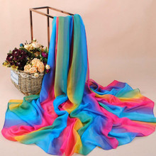 Leayh Fashion 100*180 Chiffon Large Scarf For Women Ladies Gradient Rainbow Colorful Imitation Silk Scarves Autumn Winter Shawls