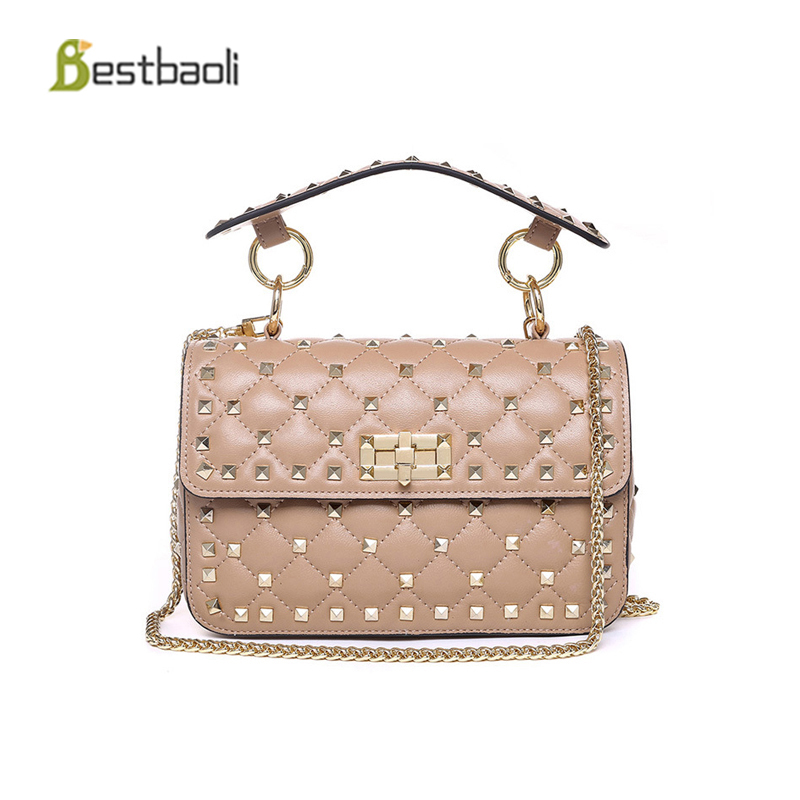 Bestbaoli 100%Genuine leather women's Shoulder bags Fashion Rivet style Crossbody bag luxury handbags women bags designer Bolsas 11cls bolsas fashion 100