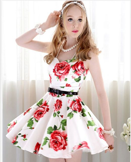 303dfcb2bf9 Summer Cute White with Red flowers sleeveless Tropical Floral print Dress  Desigual Women Girls Fasgion Vintage Dresses 3079