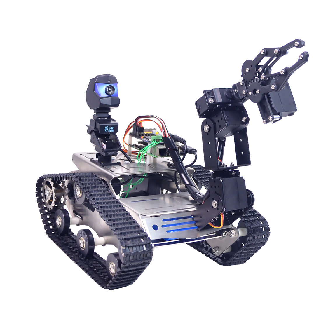 Programmable TH WiFi FPV Tank Robot Car Kit With Arm For Raspberry Pi 3B-Line Patrol Obstacle Avoid Version Small Claw
