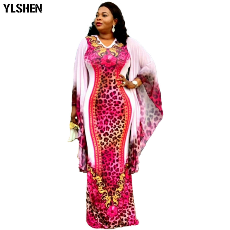 African Dresses For Women 2019 New African Clothes Dashiki Print Bazin Riche Sexy Slim Ruffle Sleeve Robe Long Africa Dress 2019