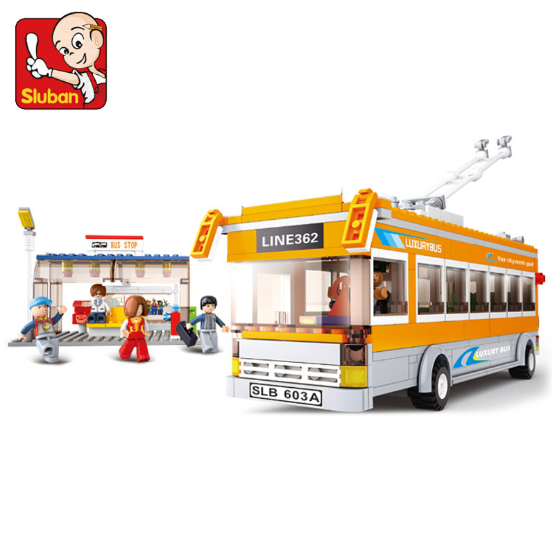 Sluban model building kits compatible with lego city bus 766 3D blocks Educational model & building toys hobbies for children sluban model building kits compatible with lego city fire 739 3d blocks educational model