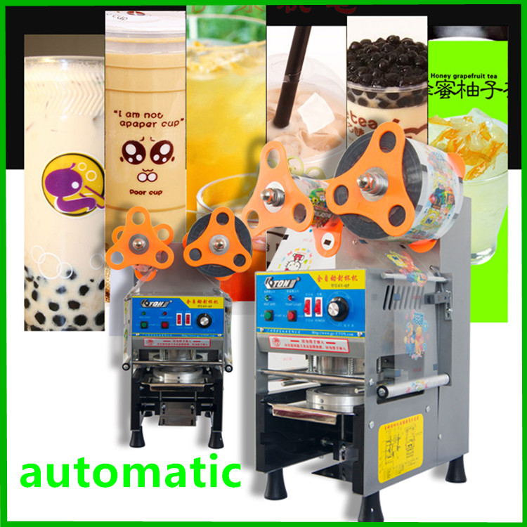 free shipping commercial electric automatic cup sealer machine coffee, milk,bubble tea plastic cup sealing machine automatic cup sealing machine commercial plastic milk tea cup sealer portable electric drinks sealing machine m10