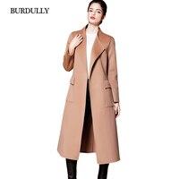 יוקרה 2017 אנגליה BURDULLY נקבה סתיו חורף עיבוי מעיל צמר עיצוב ארוך מעיל צמר קשמיר הלבשה עליונה לנשים