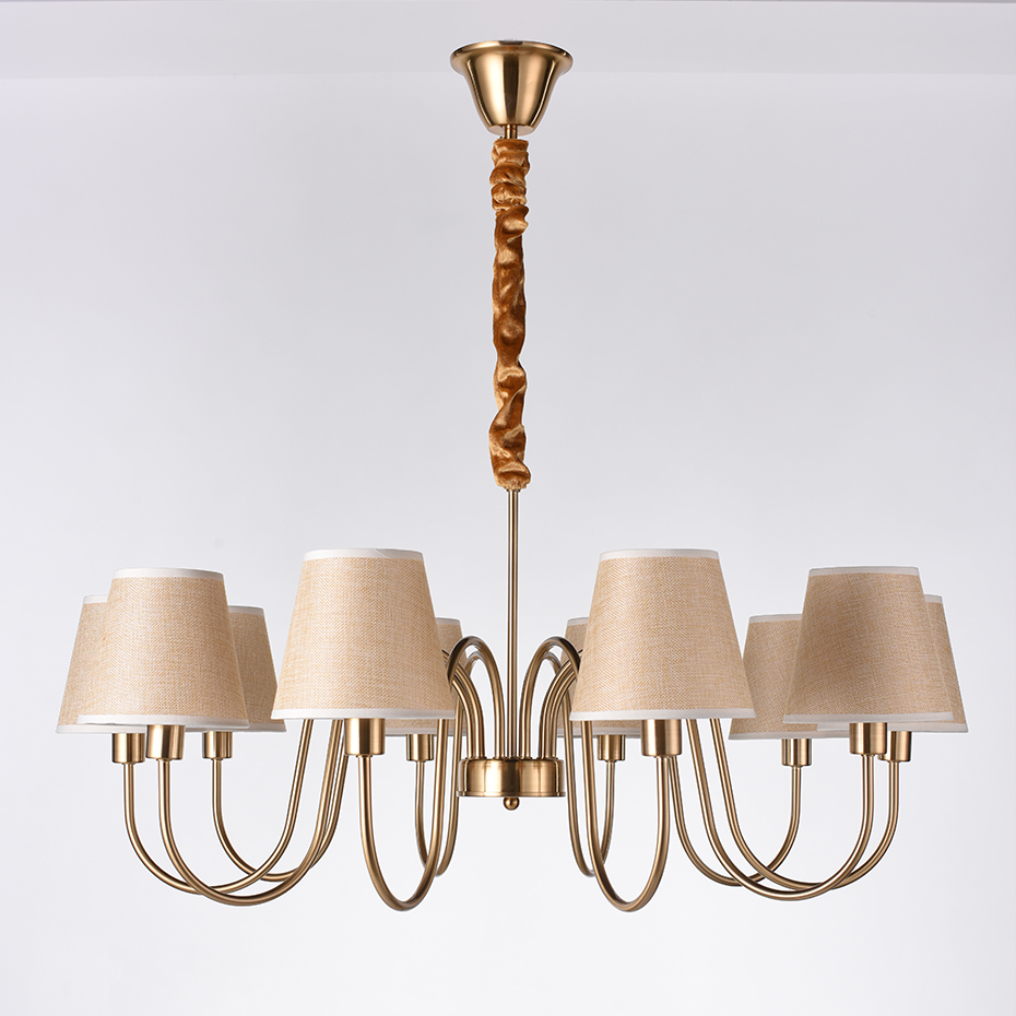 Chandelier Ceiling Modern Pendant Lamp 3/6/8/10 Arms E14 Bulb Socket Living Room Chandelier American Vintage Fabric Lampshade american iron ceiling chandelier modern european bedroom living room lamp restaurant 3 5 6 8 circulars milky lampshade wall lamp