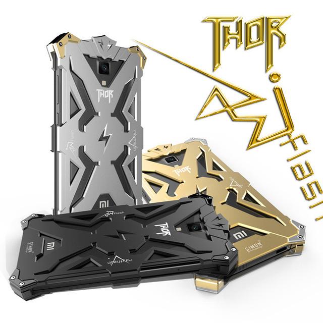 O Projeto Original Fresco THOR IRONMAN Armadura de Metal de Alumínio proteja a caixa do telefone xiaomi mi4 4c mi5 red rice note 3 nota 2 cover