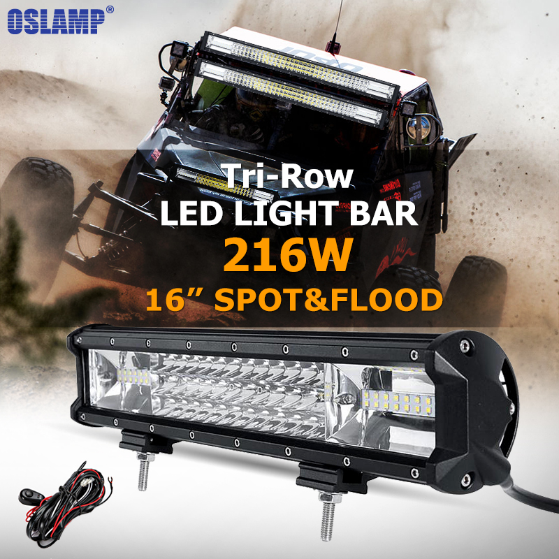 Oslamp Tri-row 16inch 216W CREE Chips LED Work Light Bar Offroad Driving Lamp Combo Beam for Jeep Truck SUV ATV 4x4 4WD 12v 24v oslamp 32 300w cree chips led work light bar offroad led bar lights combo beam led driving lamp for truck suv 4x4 4wd 12v 24v