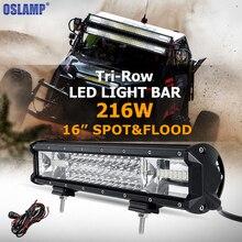 Oslamp tri-row 16 zoll 216 watt cree chips led arbeits-heller stab offroad fahren lampe Combo Strahl für Jeep Lkw SUV ATV 4×4 4WD 12 v 24 v