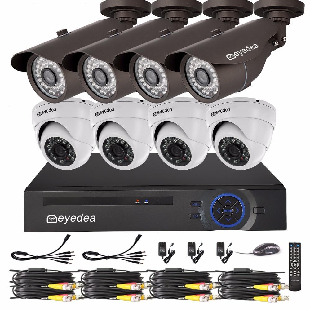 Eyedea DVR 8 CH 1080P Recorder 2 0MP Bullet Dome Outdoor Night Vision Supermarket Surveillance Home
