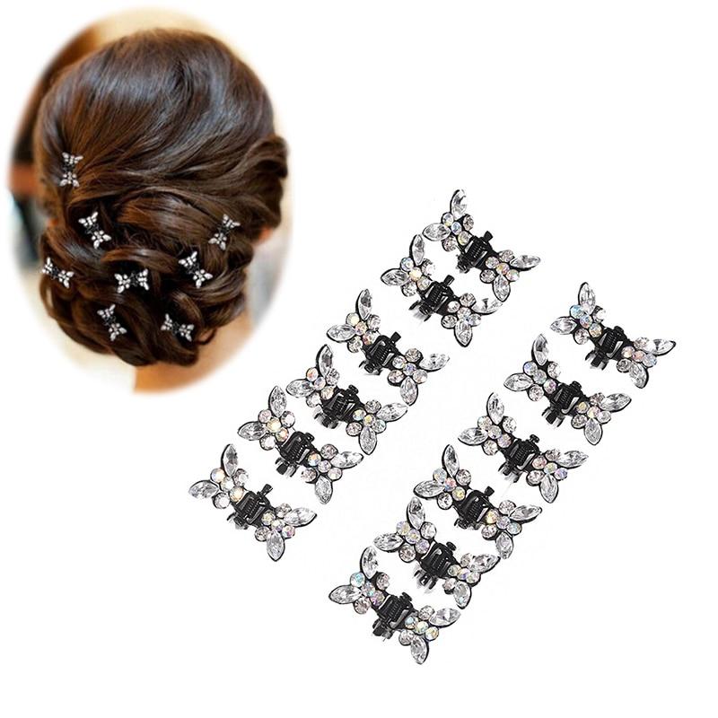 12Pcs//set Crystal Rhinestone Plum Hair Clip Barrettes For Girls Hair Accessories