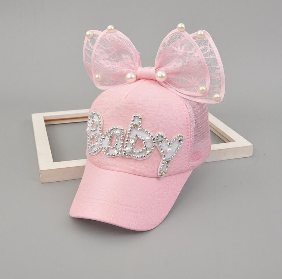 Brand New spring Summer Kids Pearl Bow Peak   Cap     Baseball     Cap   Hat For Girls Children Adjustable Snapback Casquette