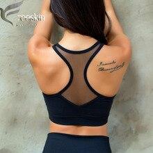 Freeskin Sports Bra Top Mesh Back Hollow Out Gym Women Brassiere Sport Push Up Fitness Running Yoga Bra