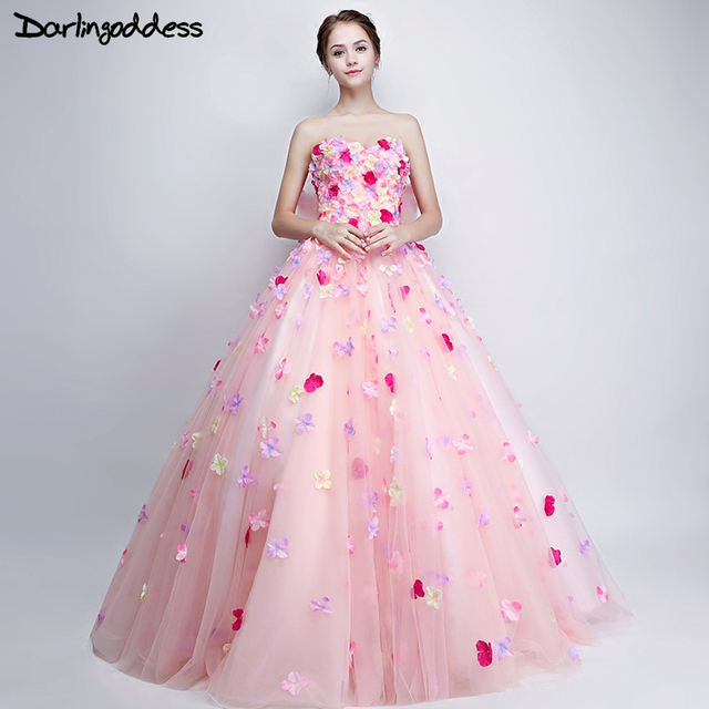 Darlingoddess Pink Cloud Flower Wedding Dresses 2017 Sweetheart Lace ...