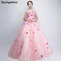 Darlingoddess Pink Cloud Flower Wedding Dresses 2017 Sweetheart Lace Up Corset Wedding Gowns Custom Made Vestidos De Novia
