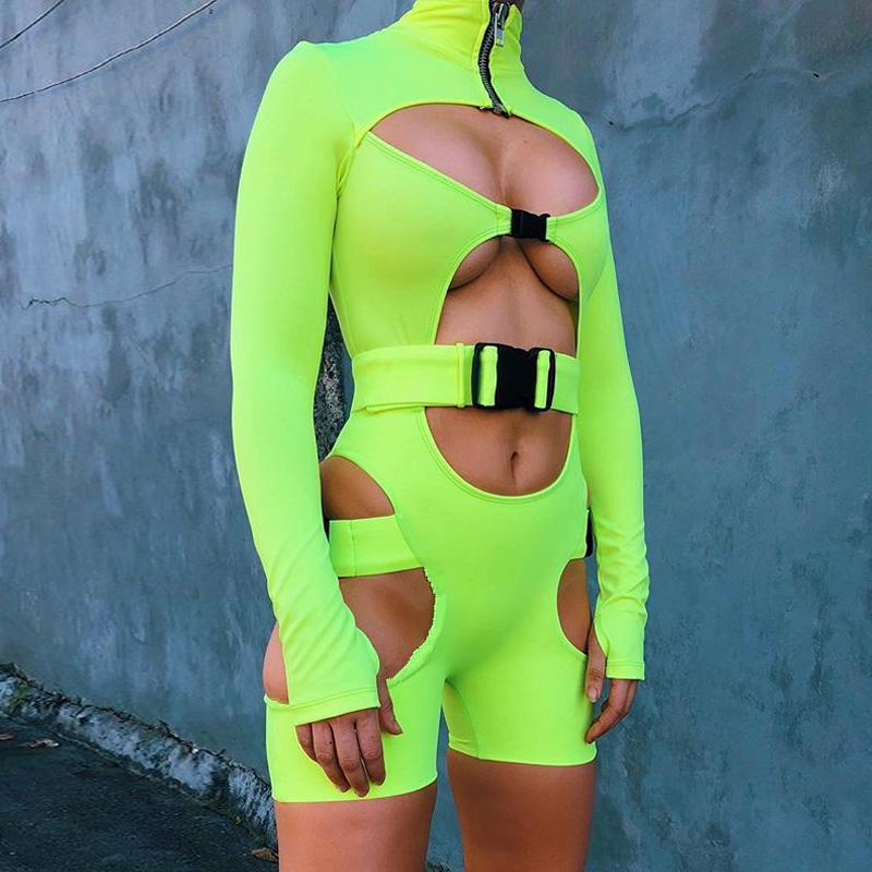 KGFIGU Women playsuits 2018 Fall long sleeve high neck Buckle rompers womens   jumpsuits   sexy cut out Overall streetwear Clothes