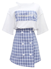 Free Shipping Summer Suit Womens Two-piece White Sexy T-shirt + Plaid Bag Hip Skirt Temperament 2019 New