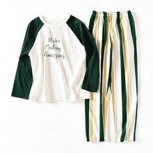 Women Cotton Pajama Sets Nightwear Long Sleeve Tops with Green Striped Pants Pajamas Soft Loose Sleepwear Sets Female Nighties