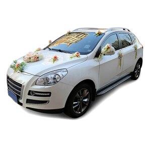 Image 2 - Décoration de porte de mariée, miroir de voiture, ruban de fleurs artificielles, pour fête de mariage, HG99