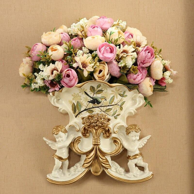 1 ensemble fleur artificielle Rose européenne deux anges tenture murale de couleur dessin résine Vase mariage décoration de la maison fausses fleurs