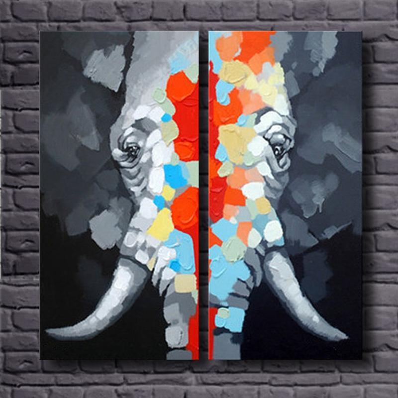 Colorido elefante animal pintura al óleo 100% pintado a mano 2 - Decoración del hogar