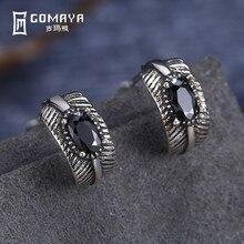 GOMAYA 925 Sterling Silver Luxury Clear Zircon Stud Earrings Vintage Feather Punk Style Earrings for Women Fine Jewelry