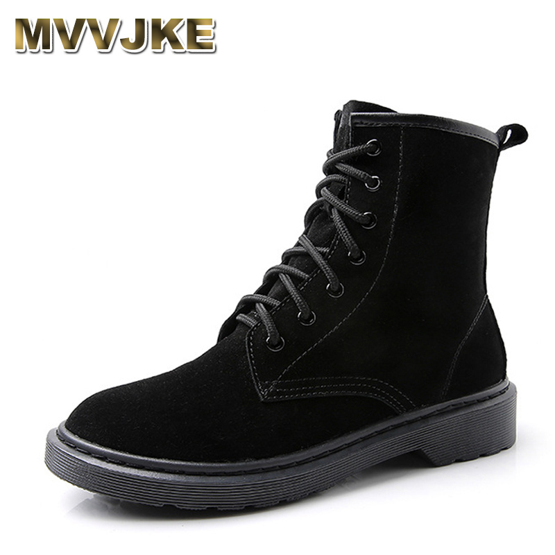MVVJKE Autumn Winter Ankle Boots Women Martin boots motorcycle snow boots Genuine Leather lace up Women Ladies Black Pink Shoes women shoes spring autumn bright black martin boots lace up platform ankle boots quality genuine leather female motorcycle boots