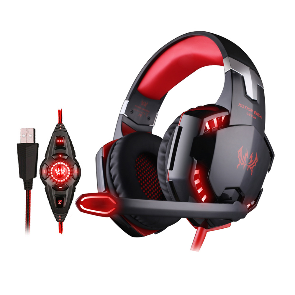 KOTION EACH G2200 USB 7.1 Computer Gaming Headphone Surround Stereo Sound Headset Vibration Games Earphones With Mic LED Light usb 7 1 surround sound vibration stereo led gaming headsets headphone with mic for pc games