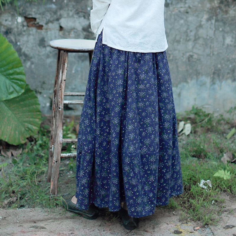 Summer Preppy Mori Style 4 Colors Floral Women Cotton Linen Pleated Skirt, Fresh Spring Ladies Long Ankle Length Lantern Skirts-in Skirts from Women's Clothing    2