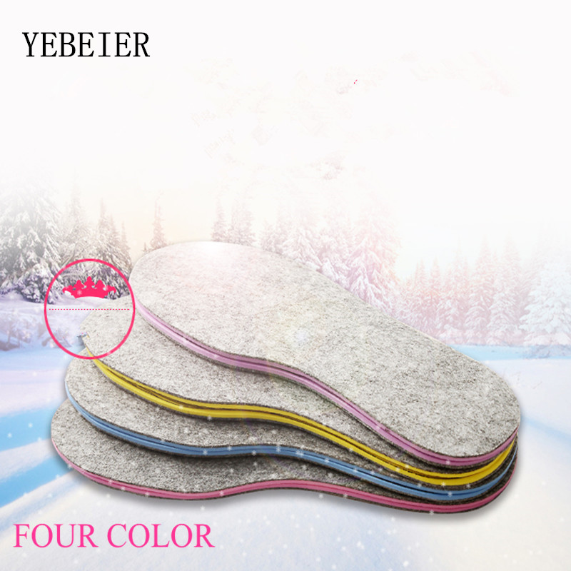 Unisex Winter Warm Comfortable Soft Emulsion Wool Shoe Insoles Pads Size 36-46