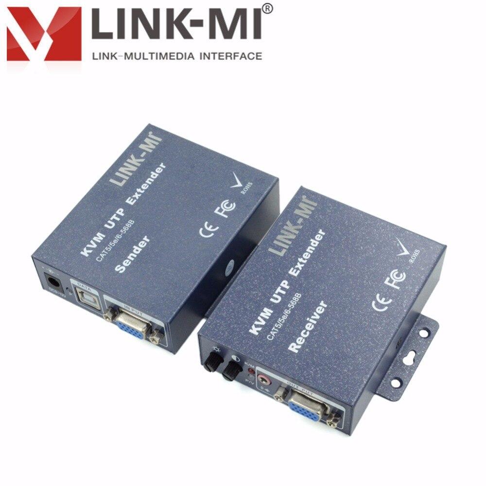 LINK-MI LM-K103TRU VGA vidéo 300 m USB KVM Extender sur simple Cat5e/6 câble utp pour clavier, souris et port vidéo max de 300 m