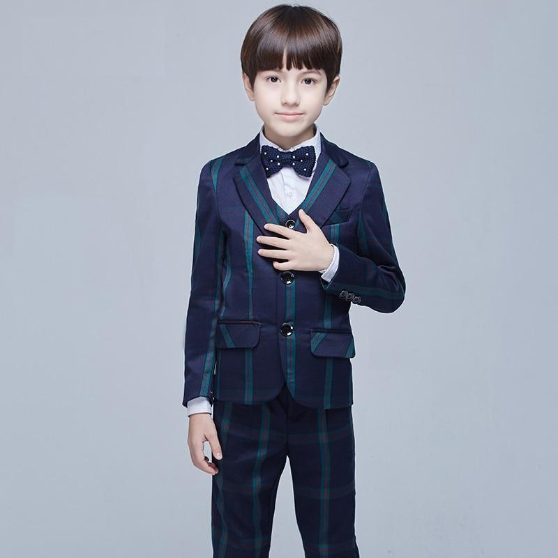 Top qualité enfant costume ensemble style britannique enfant costume garçons formel style européen robe costume + pantalon + chemise en coton + gilet + arc