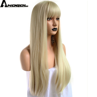 Anogol High Temperature Fiber Peruca Long Straight Platinum Blonde Hair Wigs Orange Synthetic Wig For Women Cosplay With Fringe