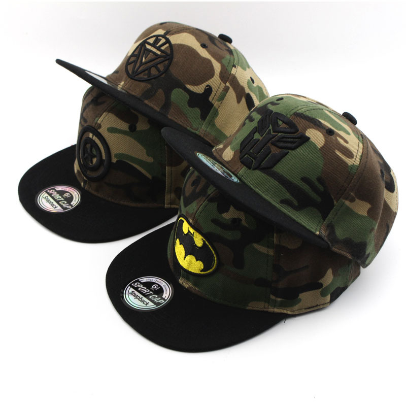 Fashion Adjustable Baseball Caps For Children Boy Cartoon Captain America Superman Batman Hip Hop Hats Sport Cap Wholesale