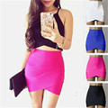 Womens Short Stretch high Waist Skirt Plain Skater Flared Pleated Mini Skirts Female Lady Skirt