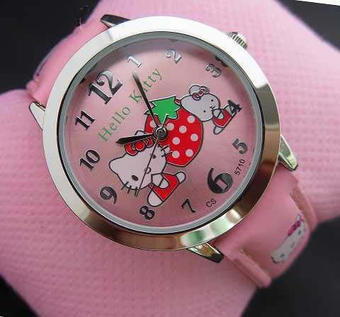 2015 New Fashion 4 colors Full crystal hello kitty watch for children classic wo