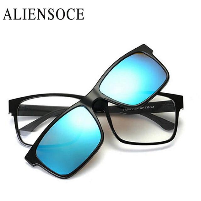 95fc92f460 ALIENSOCE Polarized Magnetic Clip on Sunglasses Magnet Frame Myopia Men  Glasses Sun Glasses Women Prescrioption Optical