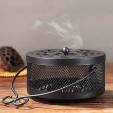 Iron Fireproof Mosquito Coil Box Classical Sandalwood Stove Household with Lid Large Mosquito Coil Tray Chinese Style Disc(China)