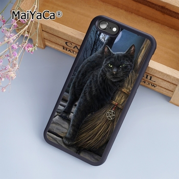 MaiYaCa Black Cat Salem Witches Broom Phone Case Cover For iPhone 5 6s 7 8 plus 11 12 Pro X XR XS max Samsung S6 S7 S8 S9 S10 image