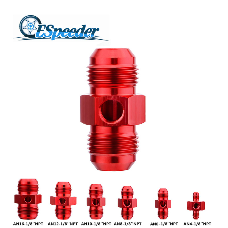 ESPEEDER Aluminum Straight Pressure Gauge Adapter Fitting -8AN Male to -8AN Male With 1/8 NPT Port Red