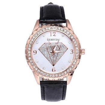 Lujosa de moda, Relojes de pulsera analógicos de cuarzo con patrón de imitación de cuero para mujer, Relojes de cuarzo de moda contraídos, Relojes de mujer