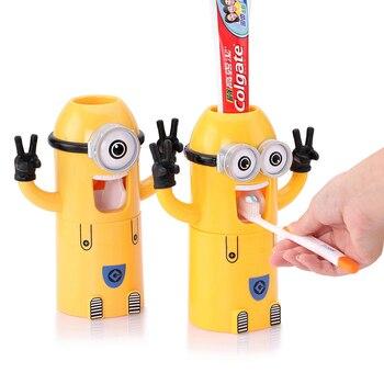 Infantil Produtos Criativos acessórios do banheiro Titular dispensador Escova creme dental Minion Automático Espremedor de pasta de Dente