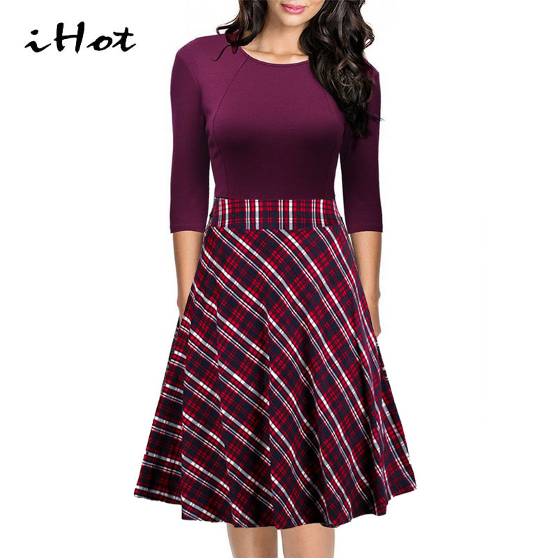 Fall Womens Vintage Retro Plaid Patchwork A line Half Sleeve Cocktail Party Skater Dress Casual font