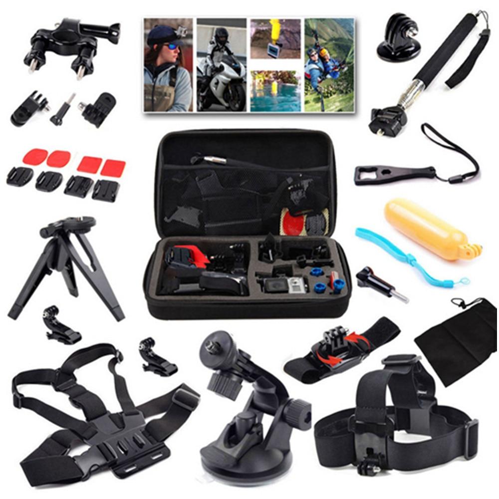 15in1 pour Gopro accessoires Kit pour Go pro Hero 4 3 + monture pour Xiaomi Yi SJCAM sport caméra ensemble, sac de protection + support + trépied