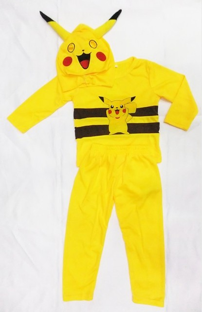 2016 Halloween Cosplay Costumes Children 3pcs/sets Children Boy Girl Pikachu Jumpsuit Romper Long sleeve Clothing Set H00121
